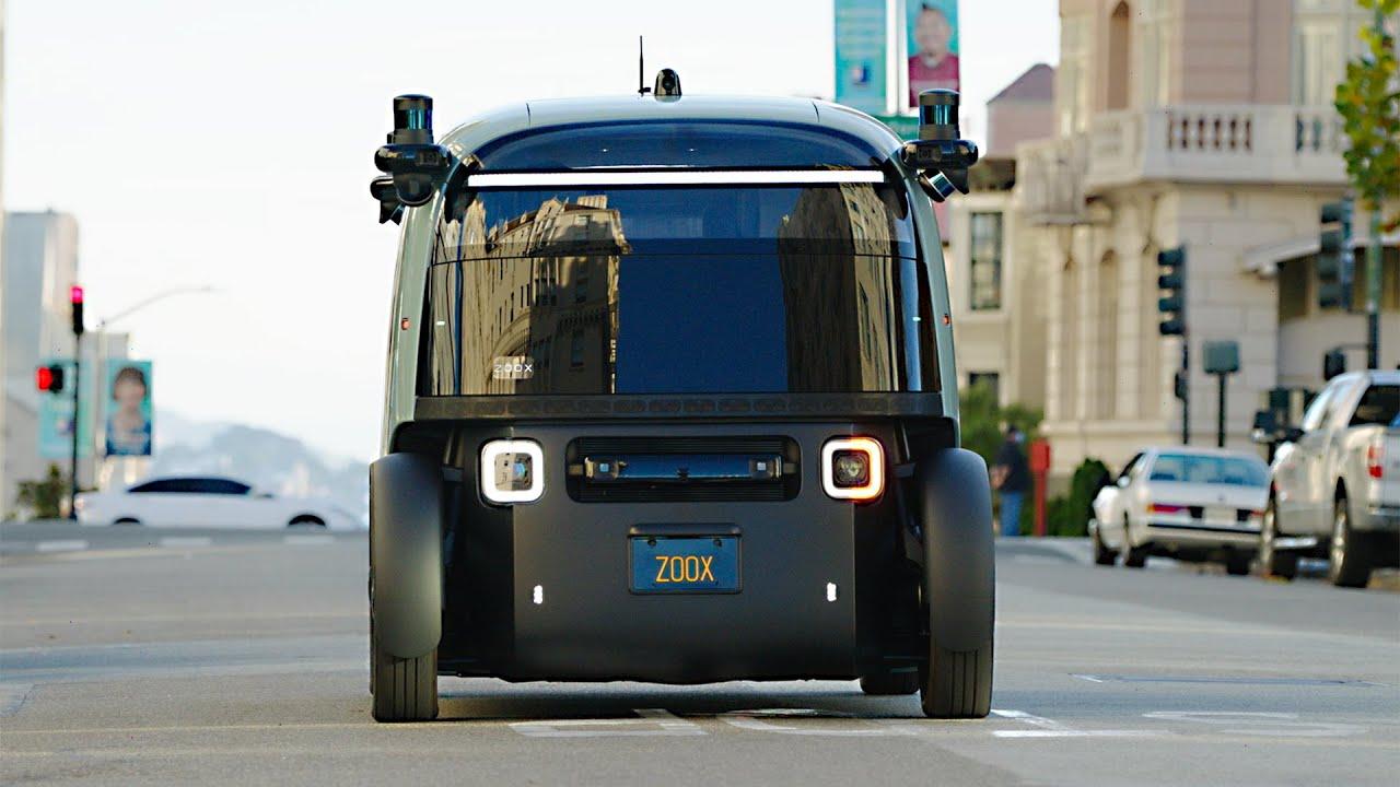 amazon zoox autonomous robotaxi (2021) first look – testing in san francisco - youtube