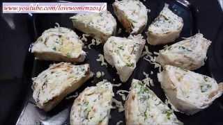 Роллы с творогом, сыром и зеленью, самая простая закуска.