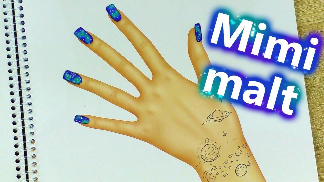 Nail Art Galaxy Im Topmodel Hand Designer Malbuch Gestalten Mimi Malt Diy Inspiration Kids Club
