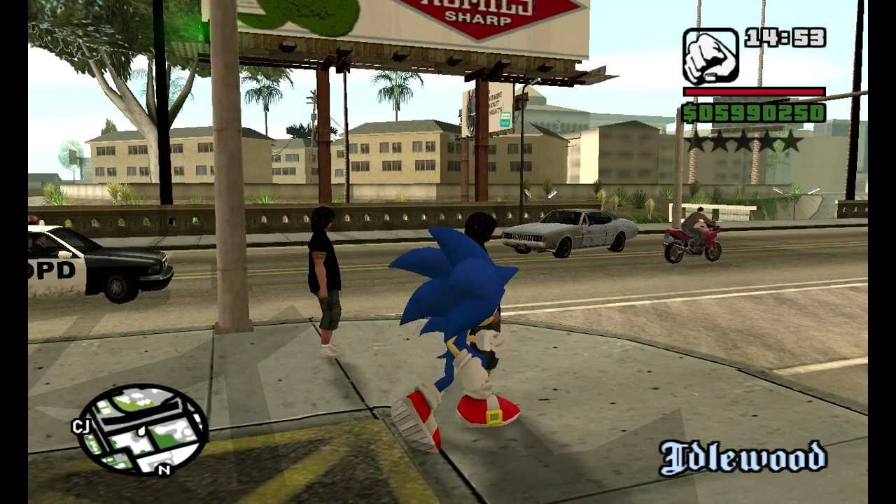 Sonic In Gta San Andreas Pc Youtube