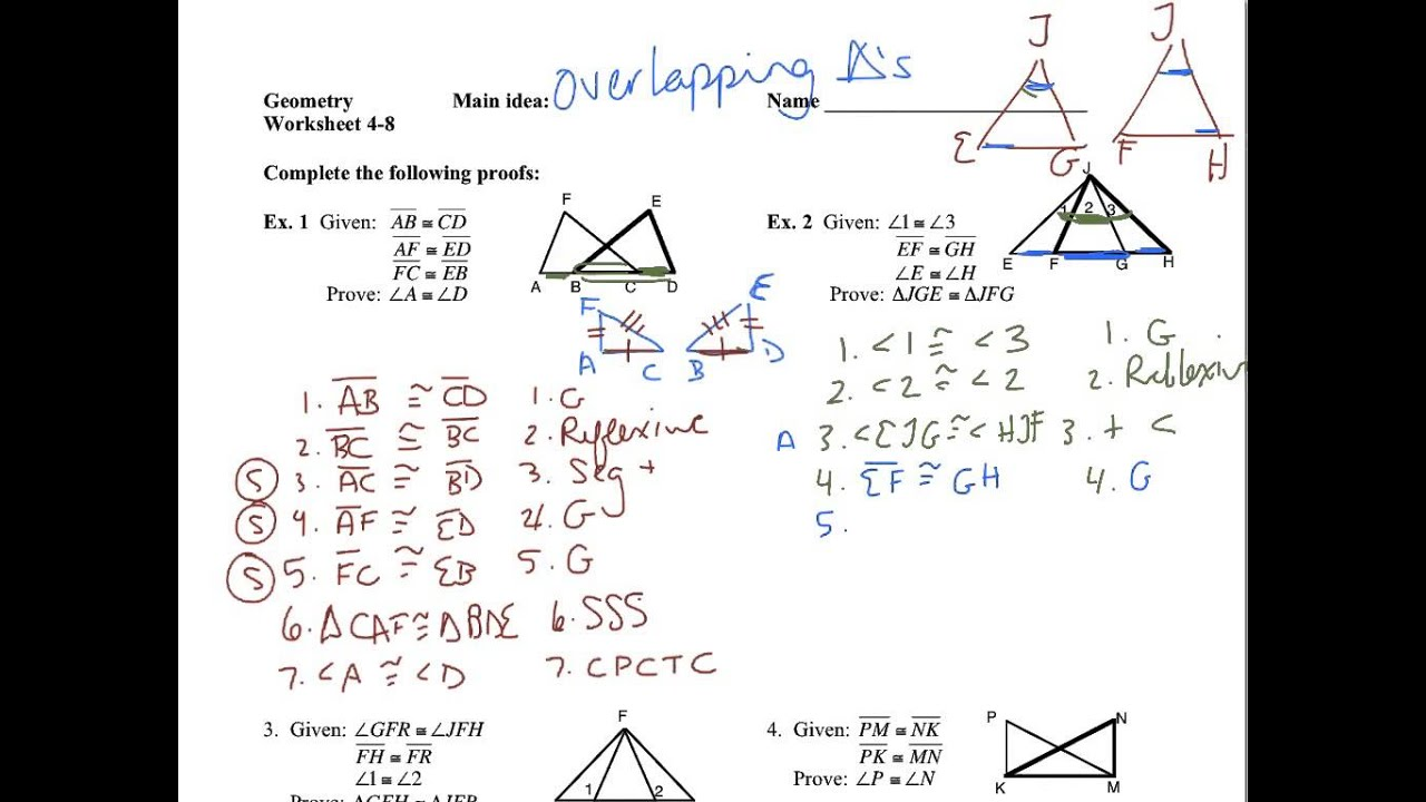 worksheet Congruent Triangle Proofs Worksheet all grade worksheets congruent triangles worksheet 4 8 overlapping youtube