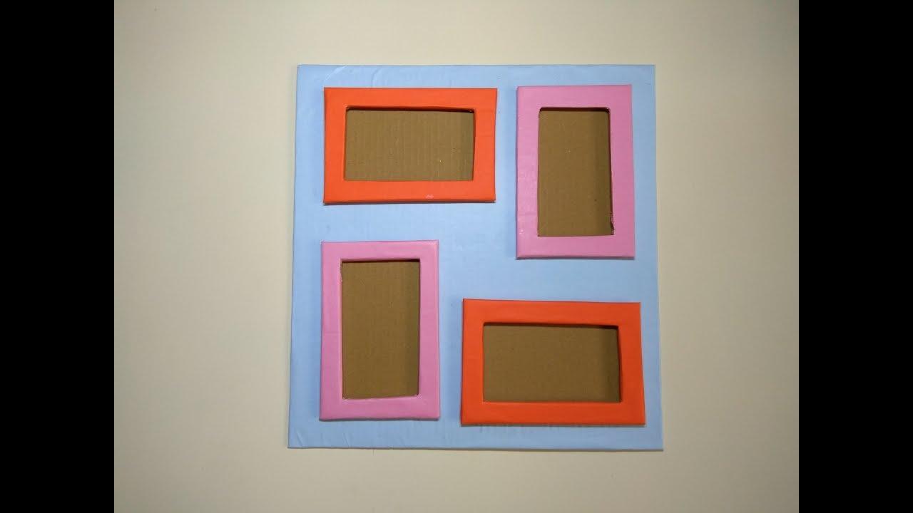 Diy 4 Photo Collage Frame Photo Frame Banane Ka Tarika Diy Stylish Wall Photo Frame Youtube