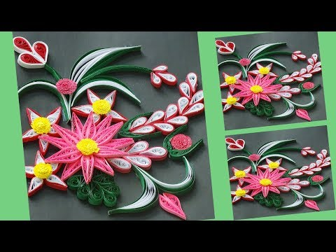 DIY || Paper Quilling Flower Making || Quill Greeting Card || Quill Tutorial || Siri art&Craft ||