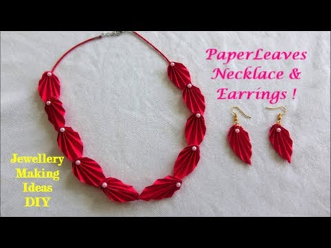 Paper Leaves Necklace & Earrings ~ DIY Jewellery making Ideas ~ Easy Steps /Tutorial...