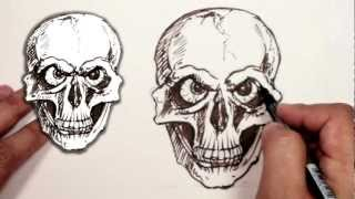 How to Draw a Skull - Evil Skull Drawing
