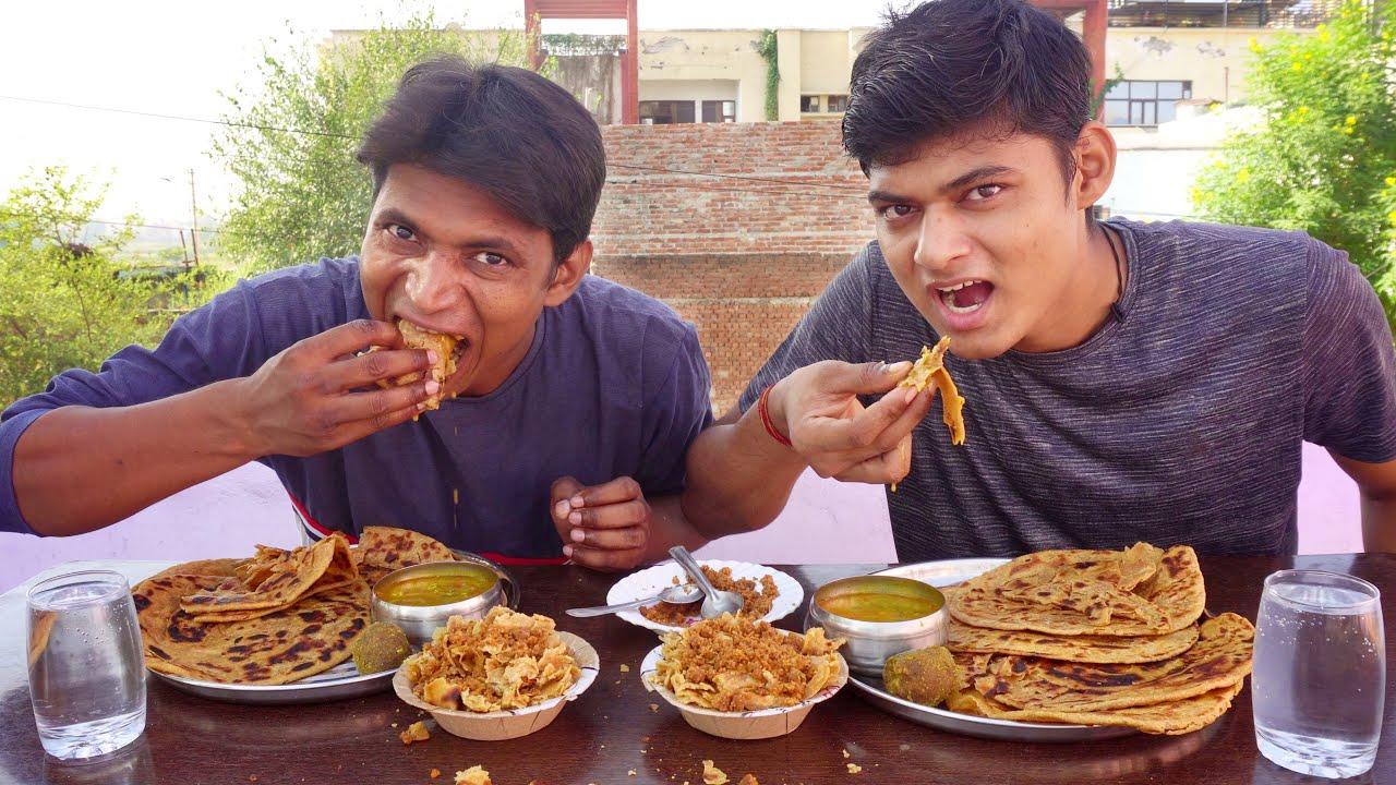 Marwadi Dal, Jadi Roti and Choorma Eating Challenge | Rajasthani - Jadi Roti and Choorma Challenge