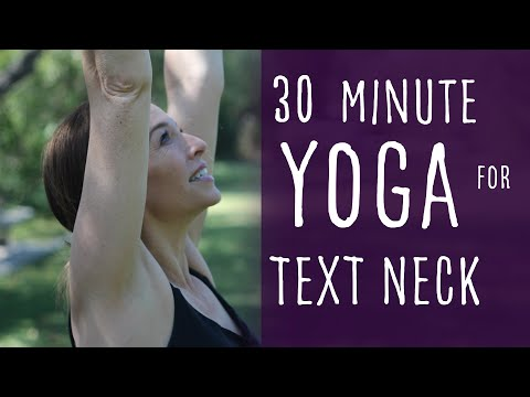 "30 Minute Vinyasa Yoga for Pain Relief in Neck and Shoulders From ""Text Neck"" with Fightmaster Yoga"