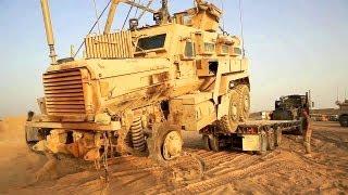 Tank Mechanics Recover A Damaged MRAP Vehicle