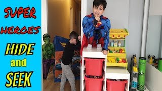 En Komik Saklambaç ! SUPER HERO KIDS FUNNY HIDE and SEEK for Kids Video
