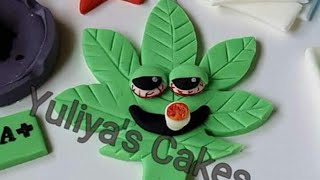 How to make weeds/marijuana smoking leaf edible cake topper,tutorial