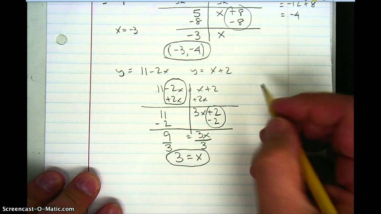 Solving Systems Of Equations Using The Equal Values Method