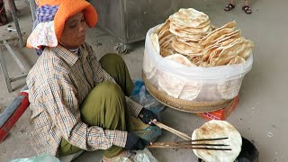Street Food In Cambodia | Grilled Big Round Rice Flour Pancake