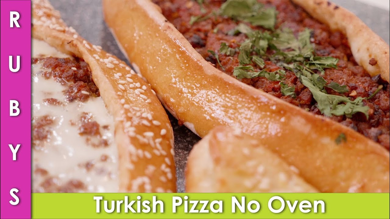 Turkish Pizza Without Oven Pide 2 Ways Recipe in Urdu Hindi - RKK