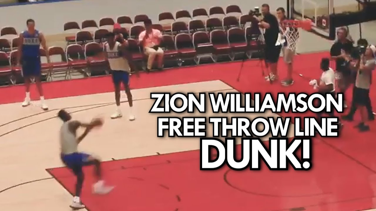 2e19897c4de3 ZION WILLIAMSON DUNKS from BEHIND THE FREE THROW LINE (4 Angles ...