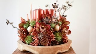 Floral Christmas Decoration Candle Centerpieces How to Make tutorial