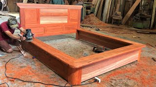 Design Perfect Prince's Bed With Monolithic Red Hardwood || Extremely Wonderful WoodWorking Machines