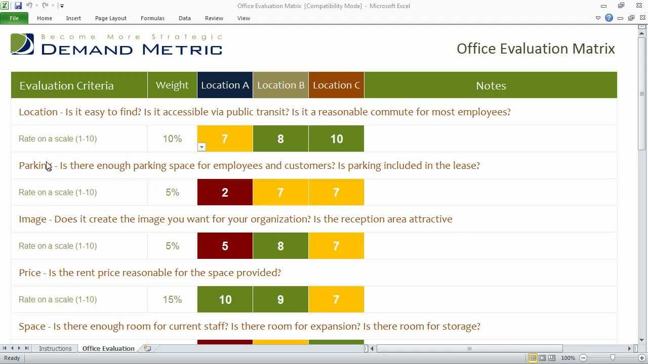 Office Evaluation Matrix - Select the right office location - YouTube