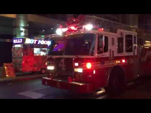 FDNY LADDER 4 TAKING UP FROM CALL ON WEST 47TH STREET IN MIDTOWN AREA OF MANHATTAN IN NEW YORK CITY.