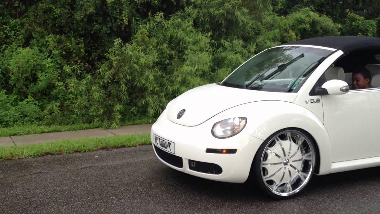 """Vw Beetle Convertible >> 2007 Triple White Beetle Bug on Bags with Big Wheels 22"""" - YouTube"""