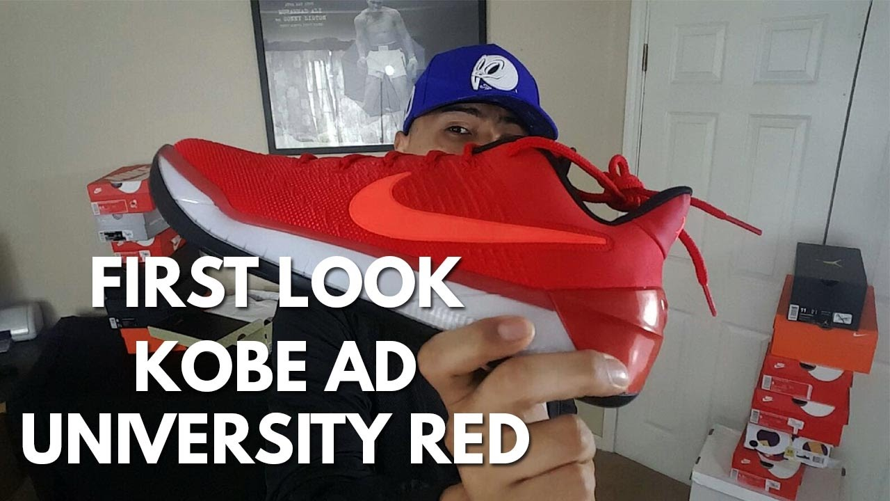 new style 905fb 9d993 FIRST LOOK  Nike Kobe AD University Red - YouTube