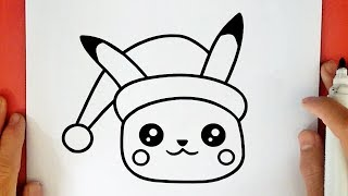 HOW TO DRAW CUTE CHRISTMAS PIKACHU