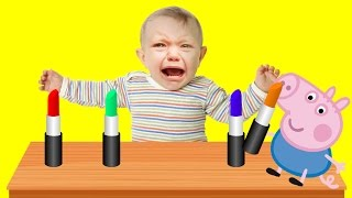 Bad Baby crying and learn colors-Lipstick for Kids- Finger Family Song Collection