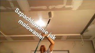 Prosty sposob na szpachlowanie sufitu - nakładanie masy wałkiem malarskim