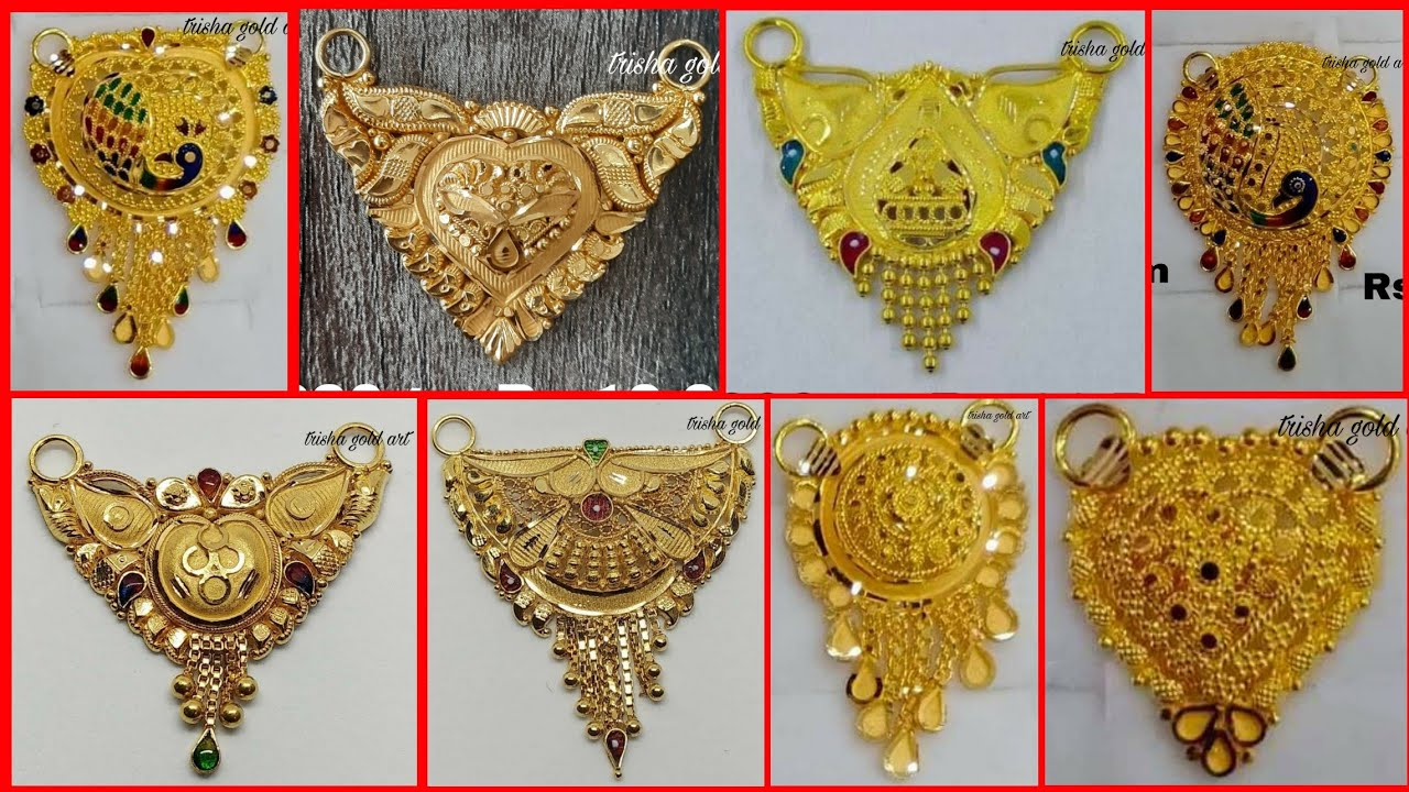 Latest gold mangalsutra pendant designs with weight and price//trisha gold art