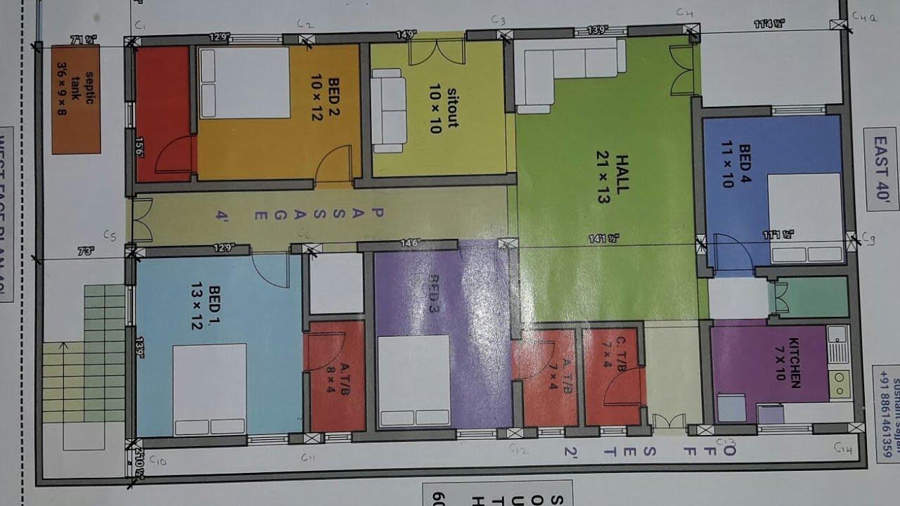 4bhk 40 times 60 West face house plan map naksha details YouTube