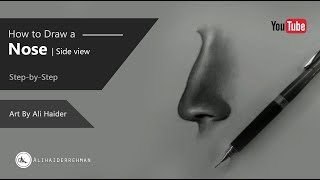 How to draw a nose | Side view | Step by step