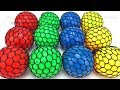 Learn Colors with Squishy Slime Balls with Microwave Toy Appliance Surprise Toys