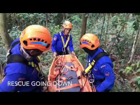 Malaysia civil defence Rope RESCUE Steep angle