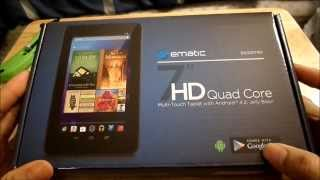 ematic 7 hd quadcore tablet unboxing