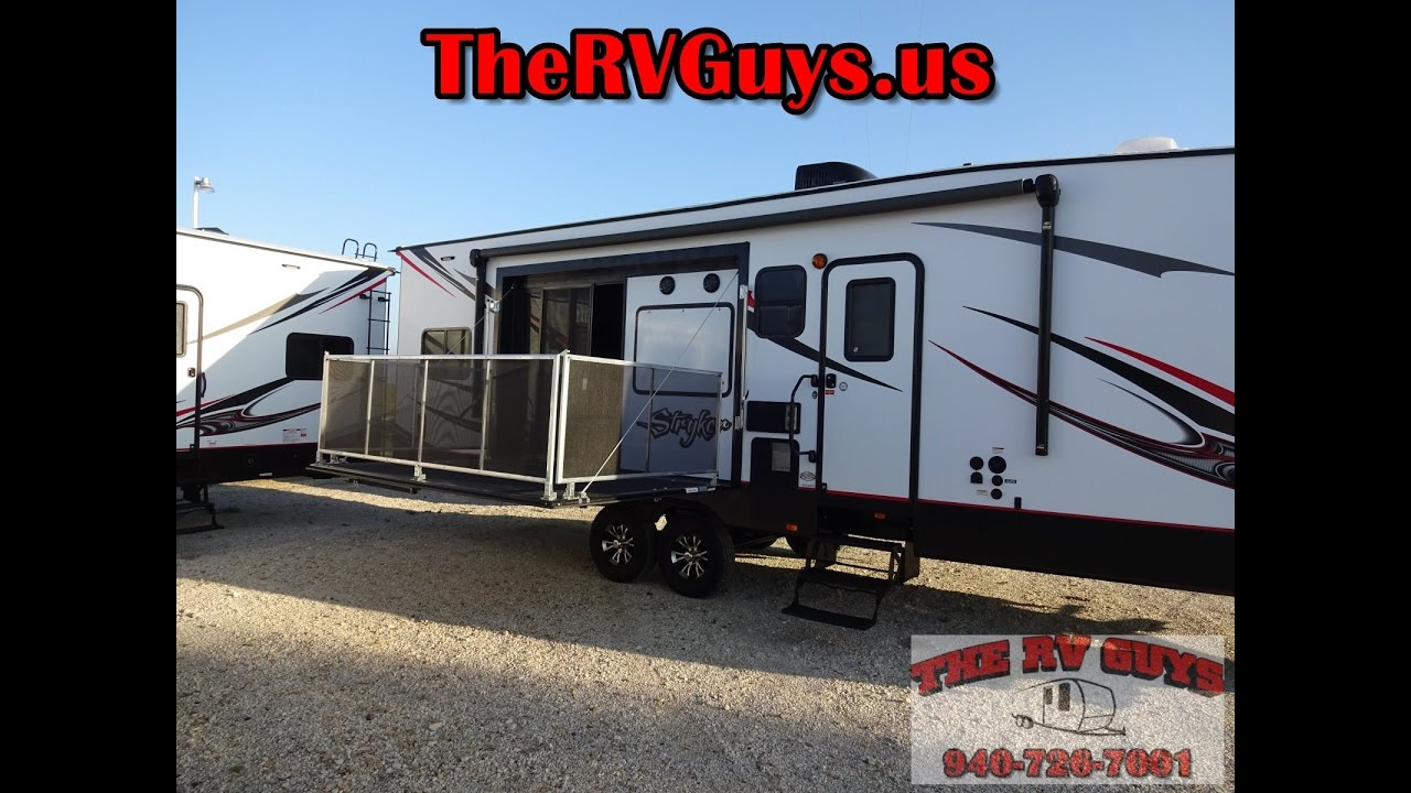 holy dirt rv man a side patio deck a must see bp toy hauler 2017 stryker 3212