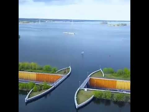 Brilliant Dutch engineering, we usually see road bridges above water but this is the other way round