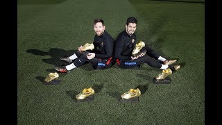 Messi & Suárez pose with their Golden Shoe trophies