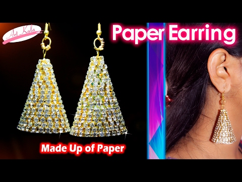 How to make Paper Earrings   made out of paper   Simple and easy   Artkala 107