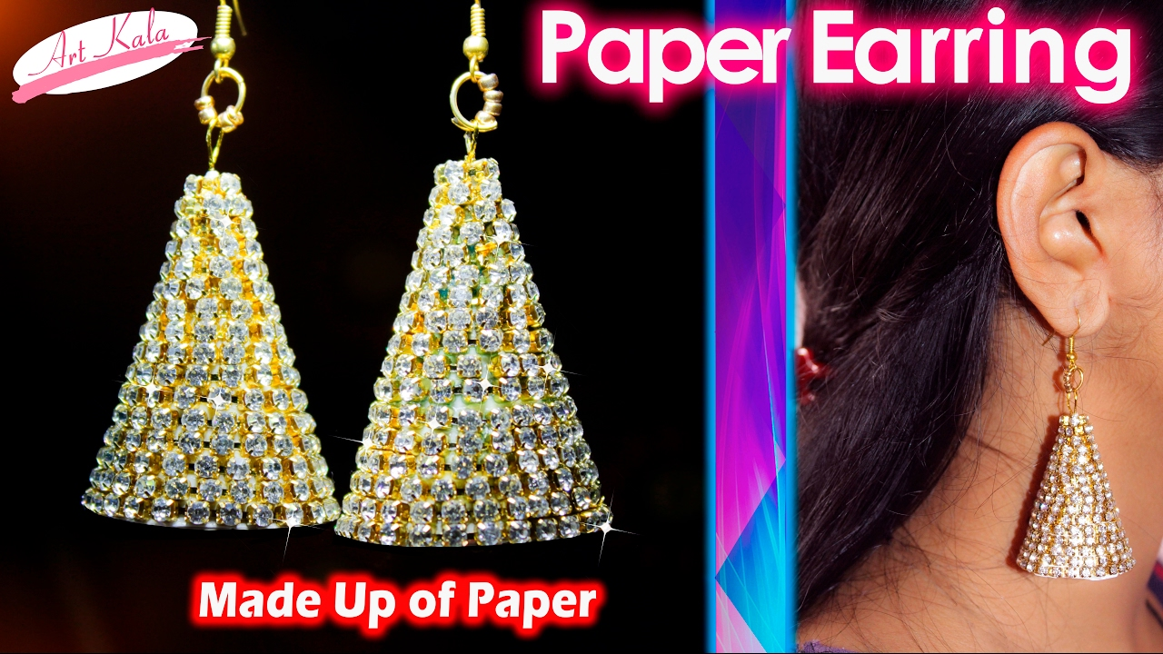 How to make Paper Earrings | made out of paper | Simple and easy ...