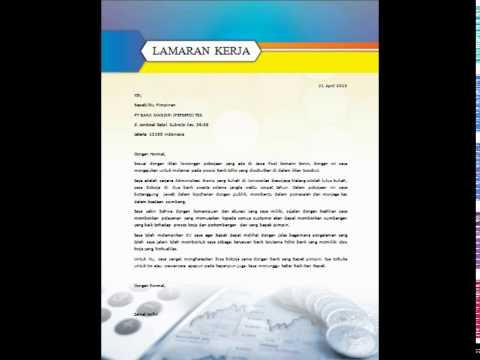 Contoh Template Surat Lamaran Kerja Bahasa Indonesia