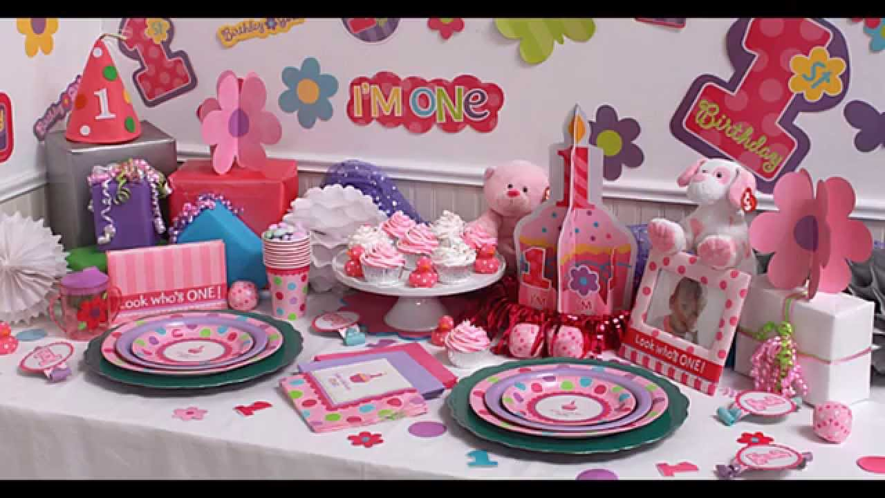 & Girls 1st birthday party themes decorations at home ideas - YouTube