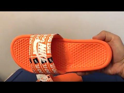 db89b4bf38a9 Nike Benassi Just Do It Orange Slides - YouTube