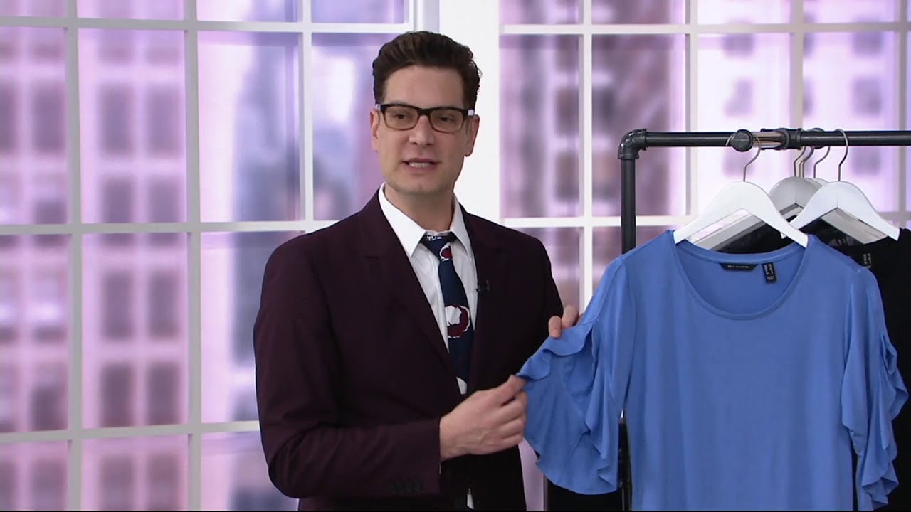 746c668c28ffa4 H by Halston Flutter Sleeve Crew Neck Knit Top on QVC - YouTube