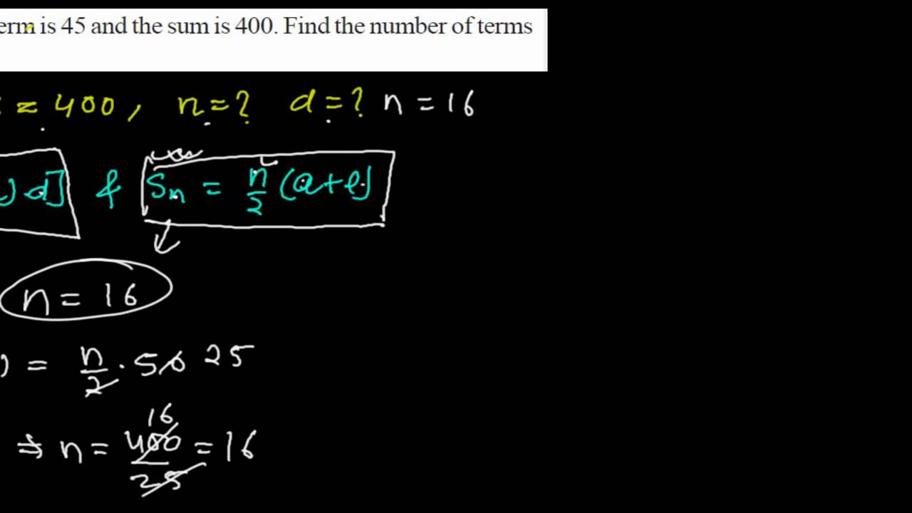 finding common difference and number of terms using sum of n terms formula of arithmetic