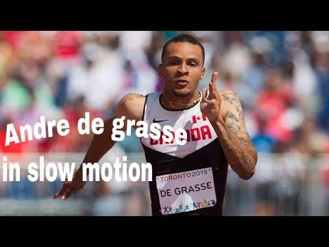 Andre de grasse in slow motion. Explosive running in slo.mow.