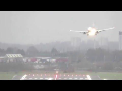 Storm Frank Tests Pilots Landing in Crosswind at Birmingham Airport BHX 30/12/2015
