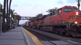 BNSF W/B Stack train going thought Fullerton station 2017-07-01