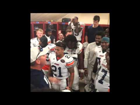 Football locker room celebration after Eastern Kentucky