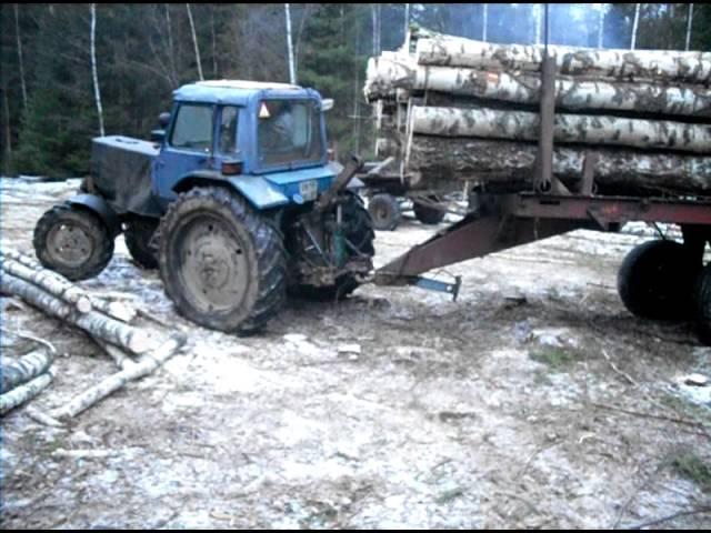 Трактор МТЗ-82 буксует - YouTube