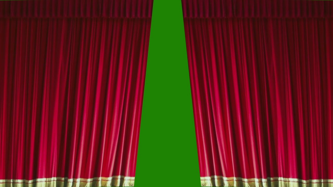 Awesome Red Curtains Drawn Closed   Green Screen Bkgnd   AE