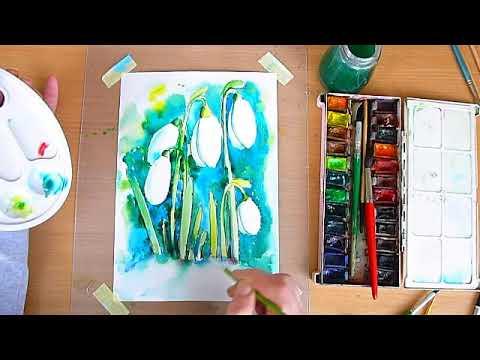 1 клас. Мистецтво. Провісники весни. Малюємо квіти підсніжників акварельними фарбами.